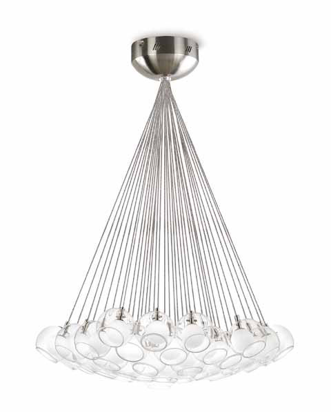 Double Pendant Lamp 37 G4 37x10W Glasses bola Nickel mate