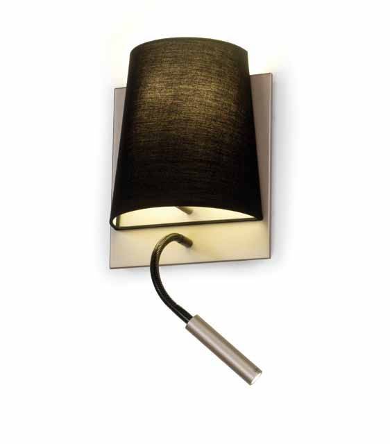 hotel Wall Lamp lampshade 60W + LED 3W with lector Champagne/Black
