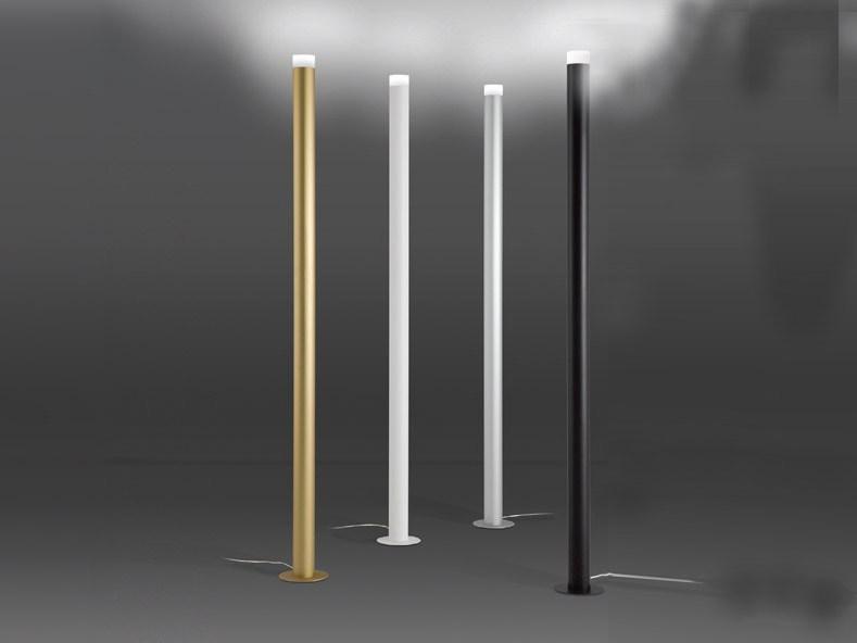 LED Pole lámpara de Pie 190cm LED 20w regulable Anodizado Plata