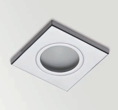 Square Bath Downlight Empotrable Difusor IP65 QR-CBC51 50w Cromo Mate