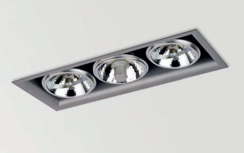 Arkos 3 COMBI Recessed rectangular 42cm 2xQR-111 + C dimmable R111 black matt