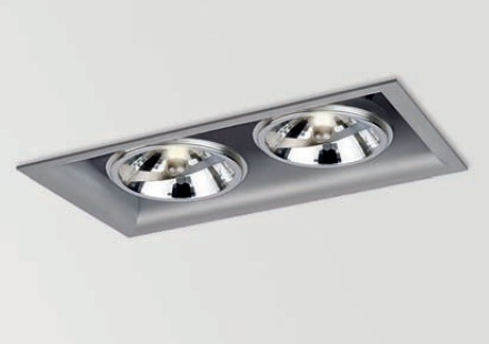 Arkos 2 Recessed rectangular 29,5cm C dimmable R111 Gx8,5 2x70w Aluminium