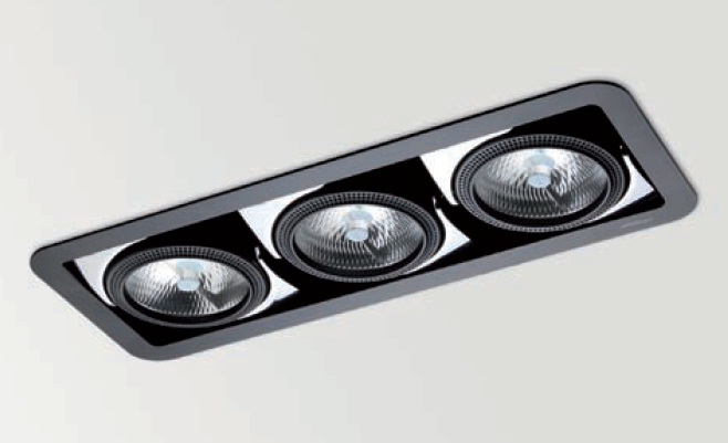 Look 3 Combi Recessed adjustable QR-111 /C dimmable R111 2x75w + 70w black matt