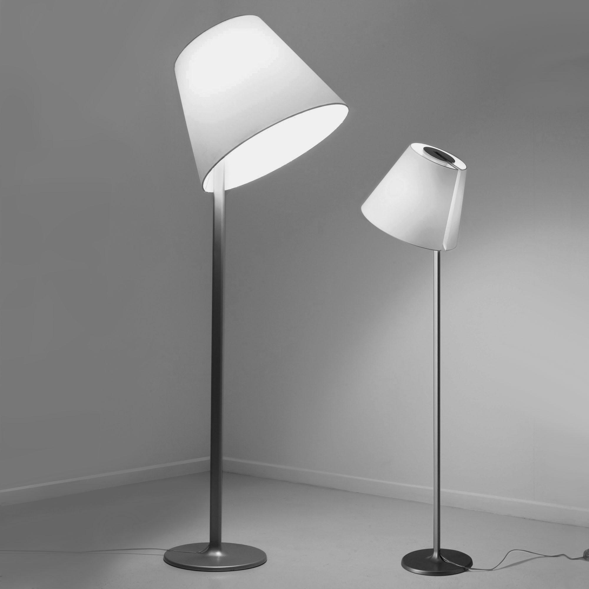 Melampo mega tierra lámpara de Pie Grande E27 150W gris Aluminio