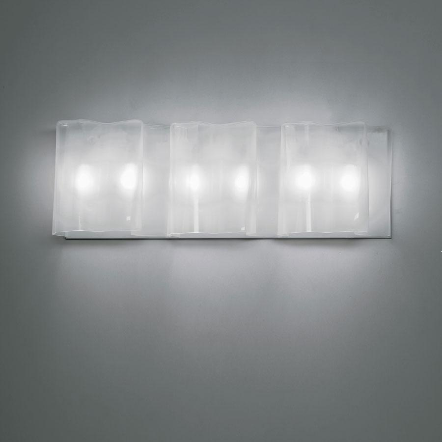 Logico triple wall lamp, incandescent, Silk diffuser, Grey support