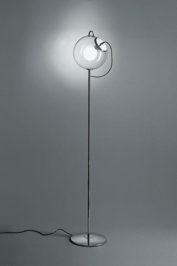 Miconos Terra lámpara de Pie metal cromado y Difusor Cristal Transparente
