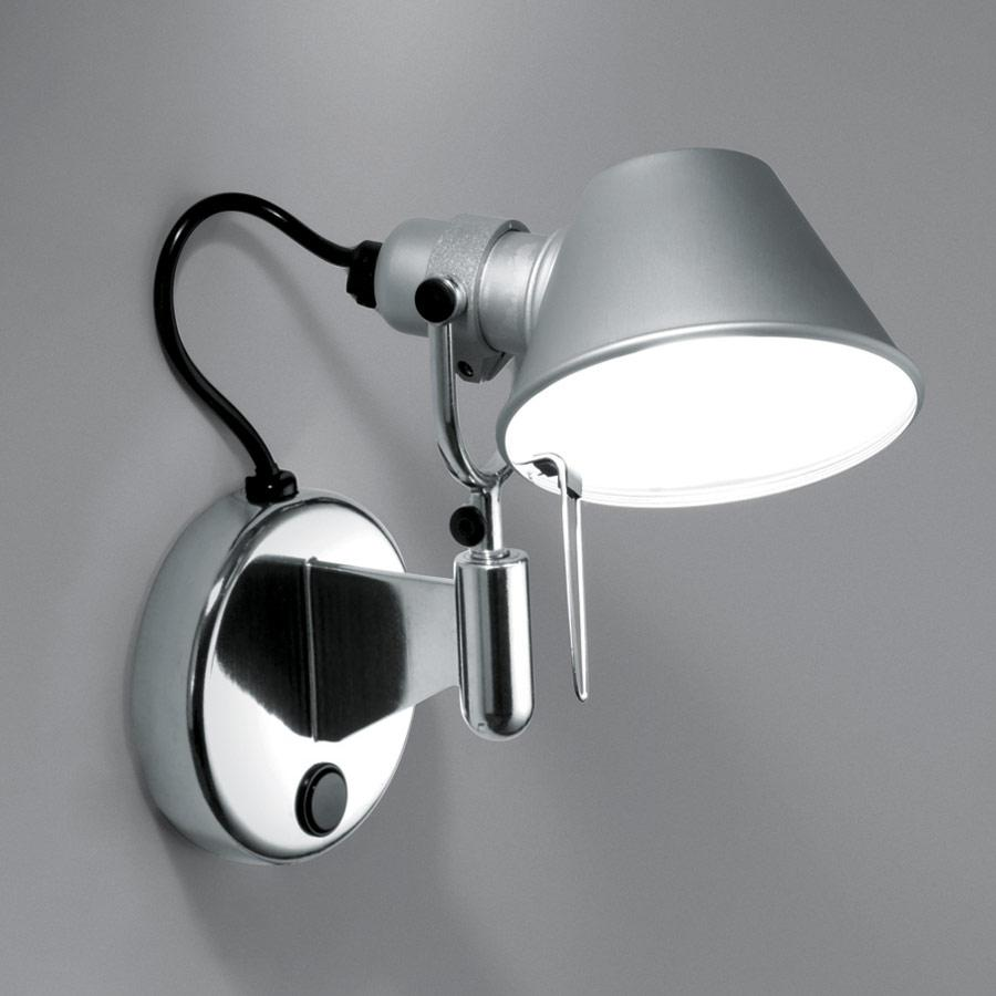 Tolomeo Micro Faretto Wall Lamp halógena 1x46w E14 with switch - Aluminium