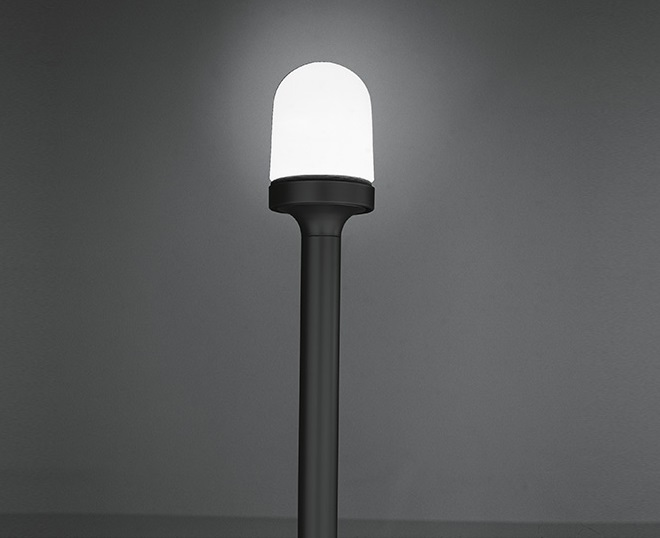 Aglaia Floor lamp Grey Body opal Diffuser in blown glass