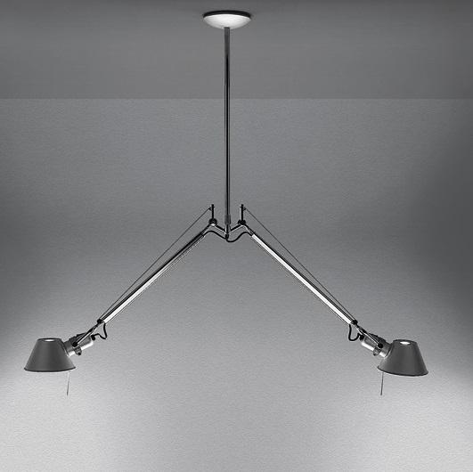 Tolomeo Lámpara Colgante dos brazos halógena 2x77w E27 - Aluminio