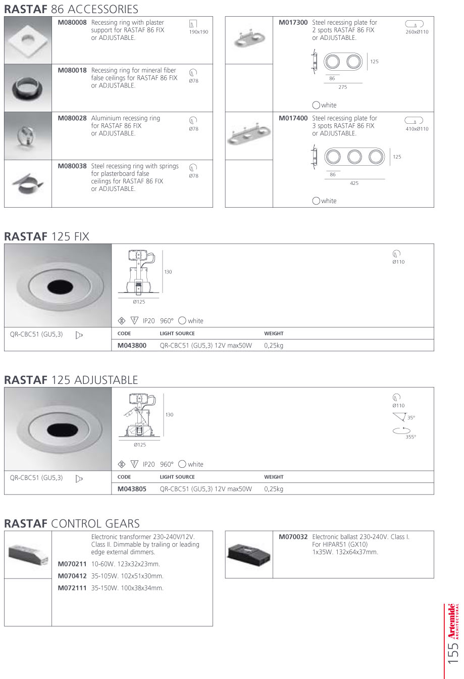 Rhornf 86 Accessory plate of Recessed of steel 275mm for 2 Spotlights white