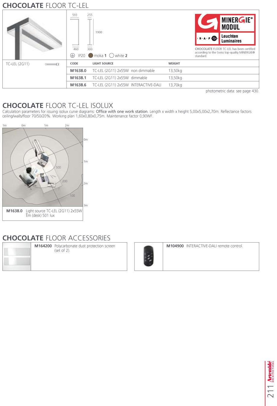chocolate Accesorio pantalla de Policarbonato para Lámpara de pie