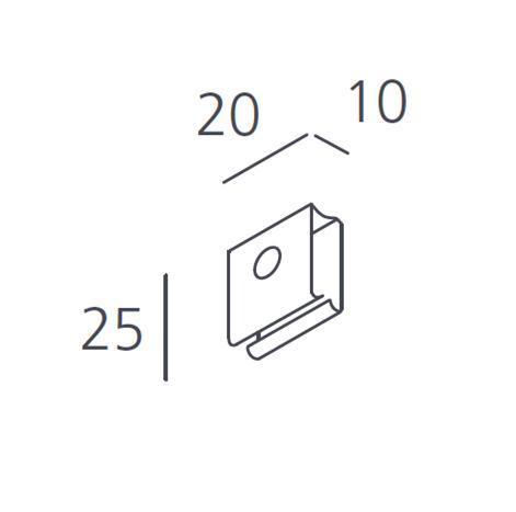 Carril Trifásico Empotrado Accesorio Clip para cable de Suspensión (6 pzs)