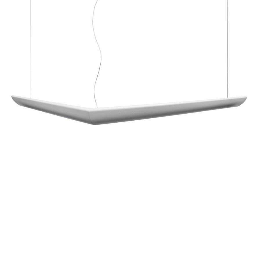 Mouette luminary Pendant Lamp asymmetric T16 G5 2x24w + 2x54w intensity regulator DSI cable of 6m white opal