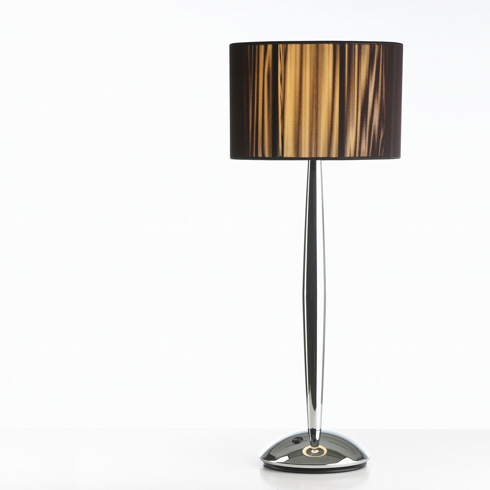 Hil Table lamp E27 1x70w Light Brown/Chrome