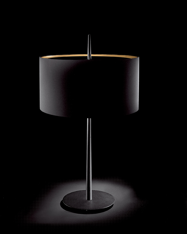 Lola T Sobremesa E27 2x60w 75cm negra pantalla Negra/Dorada