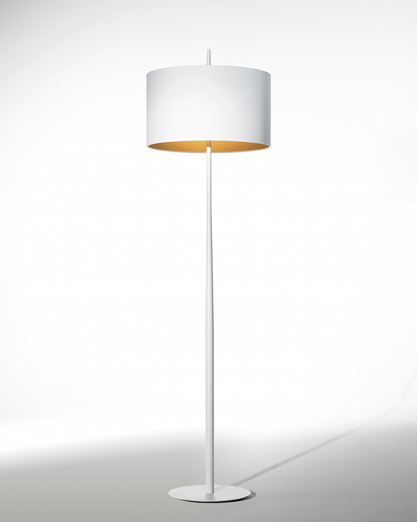 Lola F Floor lamp 161cm E27 2x60w White and White/Gold Screen