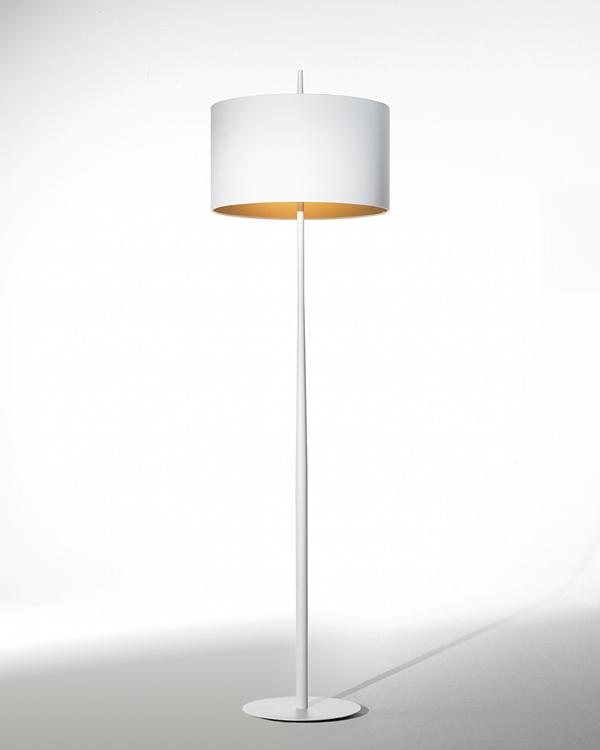 Lola F lámpara de Pie 161cm E27 2x60w blanca pantalla blanca /Dorada