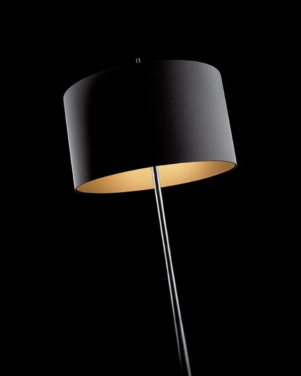 Lola F lámpara de Pie 161cm E27 2x60w negra pantalla Negra/Dorada