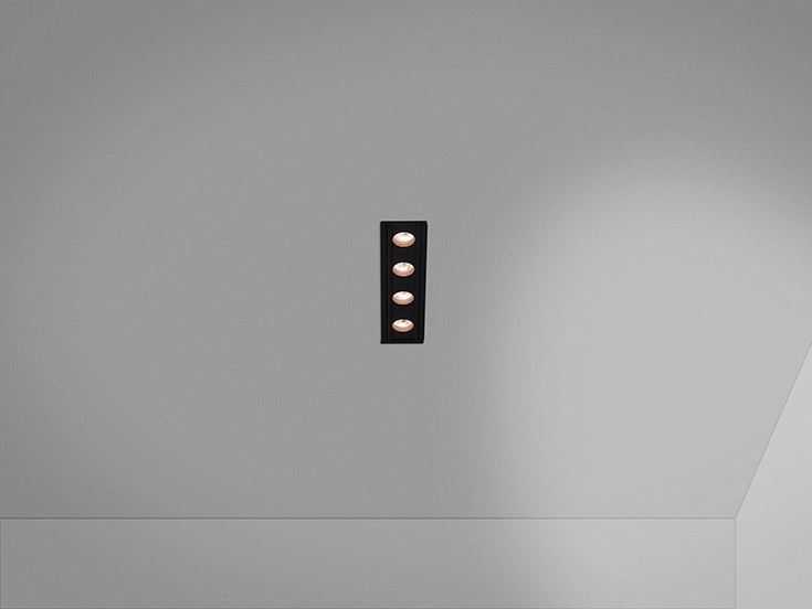 Anvil LED Module R4 Spotlight Recessed dimmable LED 4x6,4W 38 grados - Black