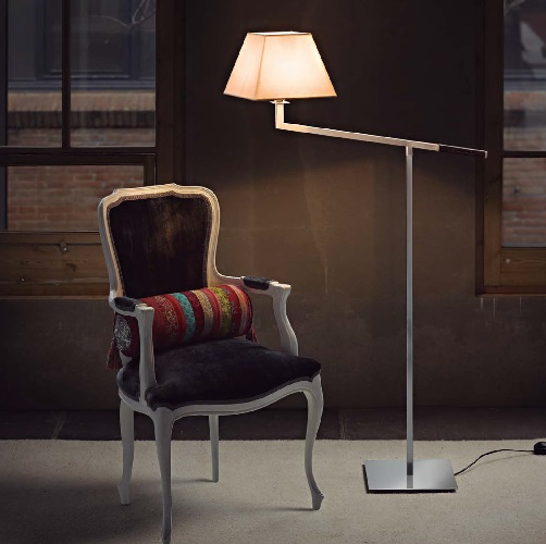 Carlota (Solo Structure) Floor Lamp without lampshade 144x83cm E27 46w Nickel Satin