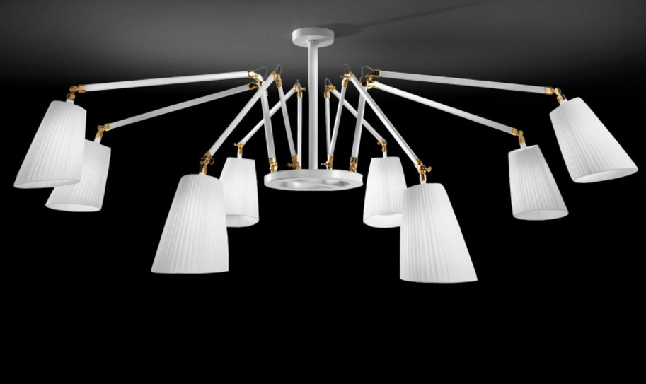 Cornelia - 02 (Solo Structure) Lamp Pendant Lamp without lampshades E27 8x46w white - Chrome