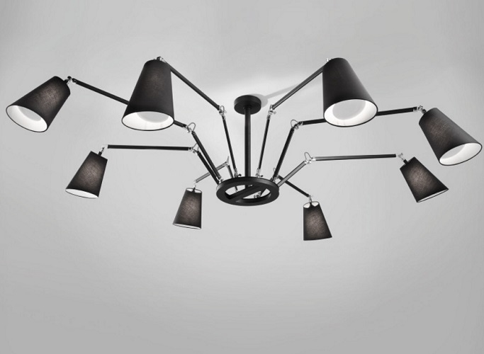 Cornelia - 02 (Solo Structure) Lamp Pendant Lamp without lampshades E27 8x46w Black - Chrome