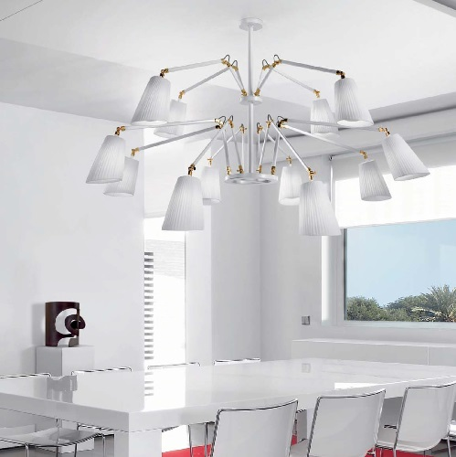 Cornelia - 03 (Solo Structure) Lamp Pendant Lamp without lampshades E27 12x46w white - Chrome