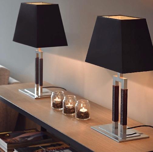Ema - mesa (Solo Estructura) Sobremesa sin pantalla E27 46w Níquel Satinado
