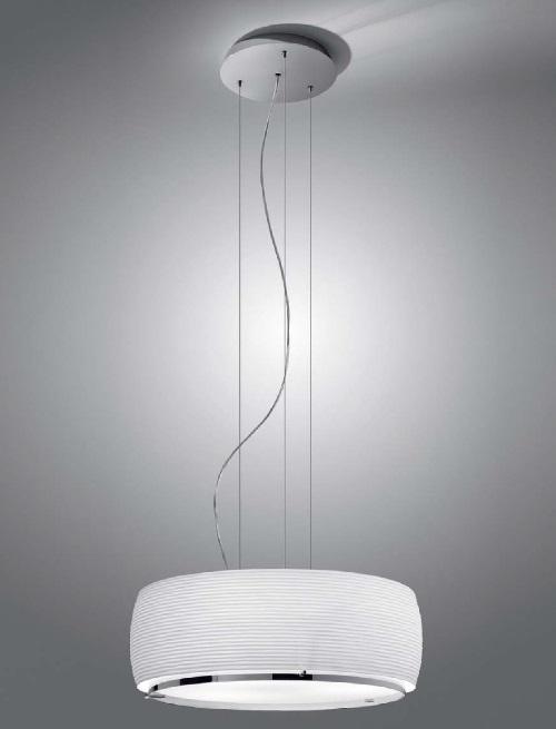Inari Lampe Pendelleuchte E27 46w Chrom Glas opal Grabado