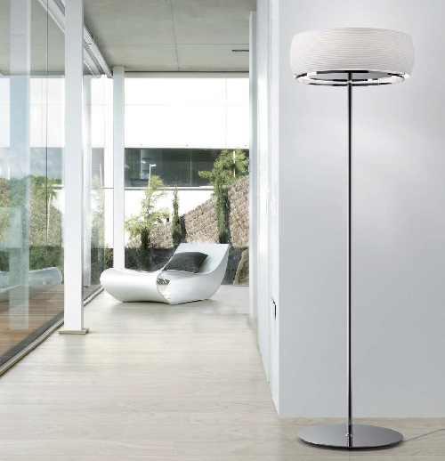 Inari Floor Lamp E27 46w Nickel Glass opal Grabado