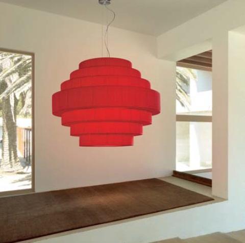 Mos - 01 Lamp Pendant Lamp E27 46w Cinta translucent Roja