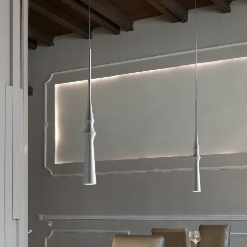 Slend - 03 Lamp Pendant Lamp LED 6w Polished Alluminium - Rosette Chrome - cable Transparent