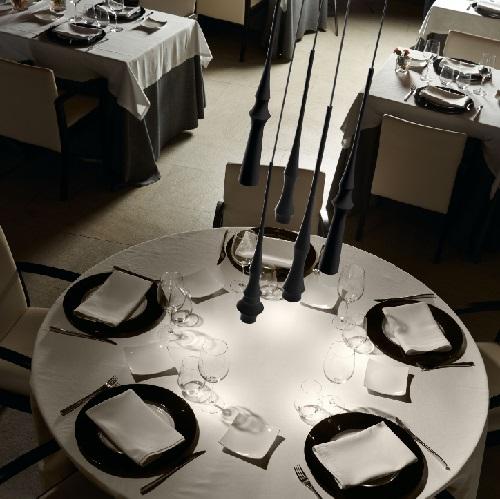 Slend - Set 6 Lamp Pendant Lamp LED 6w Polished Alluminium - box white - cable Transparent