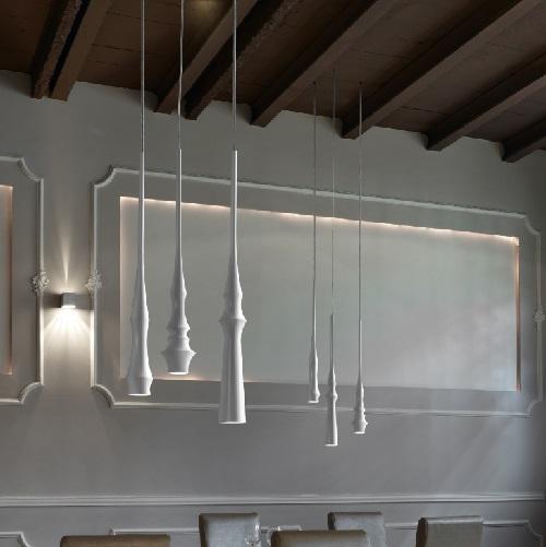 Slend - Set 3 Lamp Pendant Lamp LED 6w white Brillo - Rosette white - cable white
