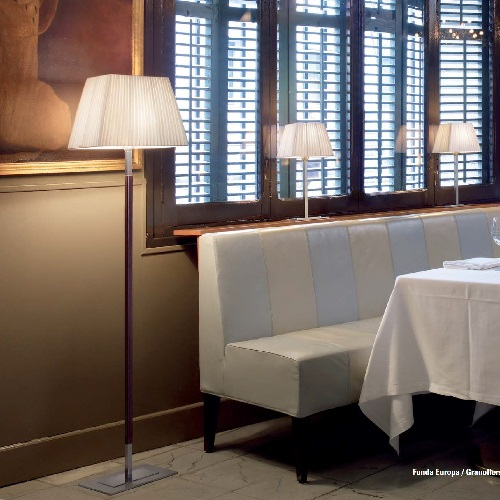Tau - Floor Lamp (Solo Structure) Floor Lamp without lampshade E27 46w Ní­quel Piel Oscura