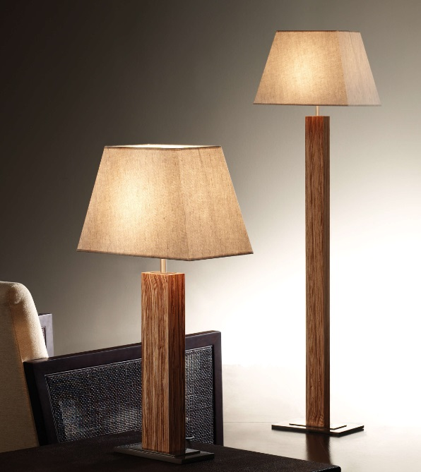Tau - Floor Lamp Wood (Solo Structure) Floor Lamp without lampshade E27 46w Nickel Wengué