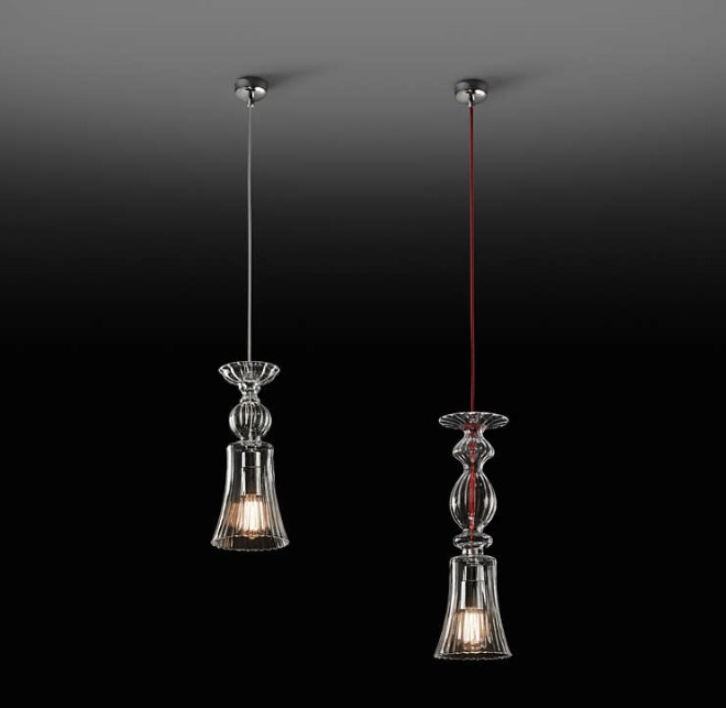 Twins - 01 Lamp Pendant Lamp E27 40w Glass Soplado - cable Transparent