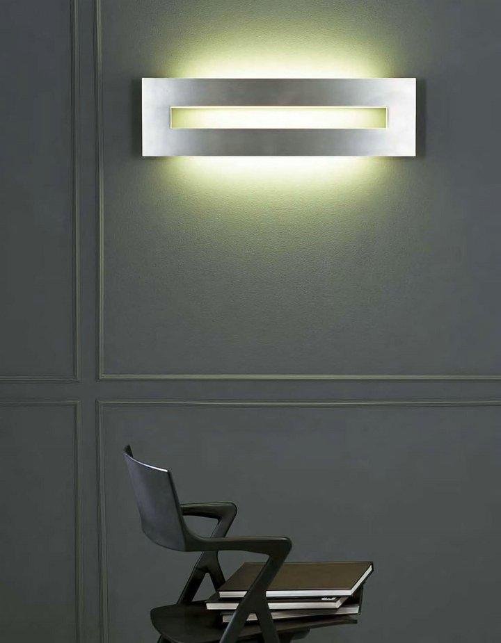 Hans Wall Lamp rectangular 41cm Grey metallized/white
