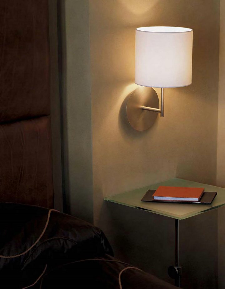 hotel Wall Lamp níquel Matt lampshade round black