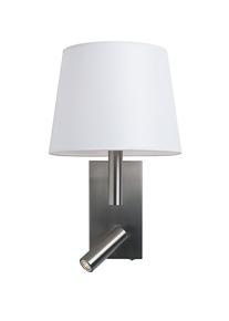 Jerry Hotel Aplique ø23cm E14 60W LED 3W Pant Cónica Níquel mate/Blanca