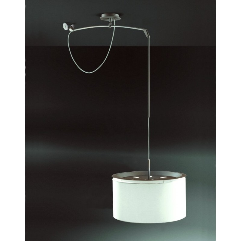 Finger Pendant Lamp movil ø45cm metallic lead white lampshade