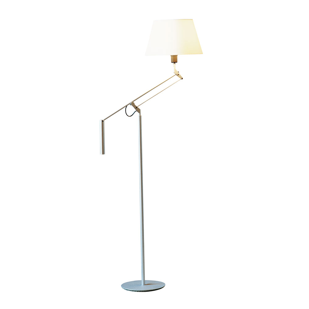 Galilea lámpara of Floor Lamp E27 100W Metallic lead white lampshade