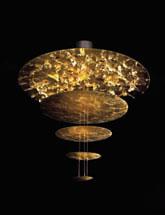 Sistema Macchina Della Luce Mod D (5 Scheibes) ø120cm Pendelleuchte Gold