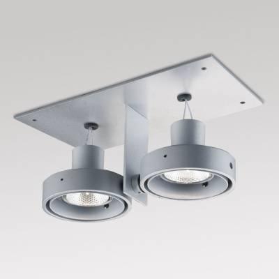 Minigrid in ZPilas 2 50 hi Frames Recessed GU10 2x50w Aluminium