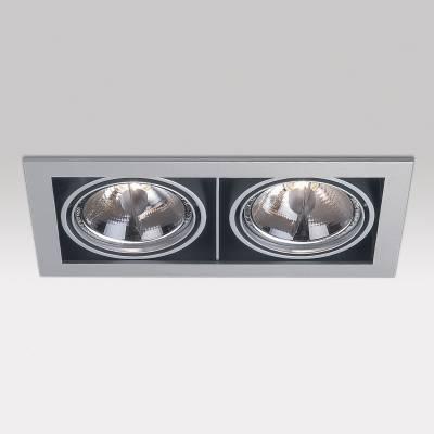 Minigrid in 2 QR BA15d 2x50w 30º Aluminio Aluminio