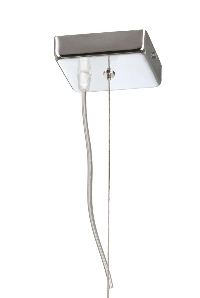 Soporte Lámpara Colgante Cuadrado Cromo con cable de acero