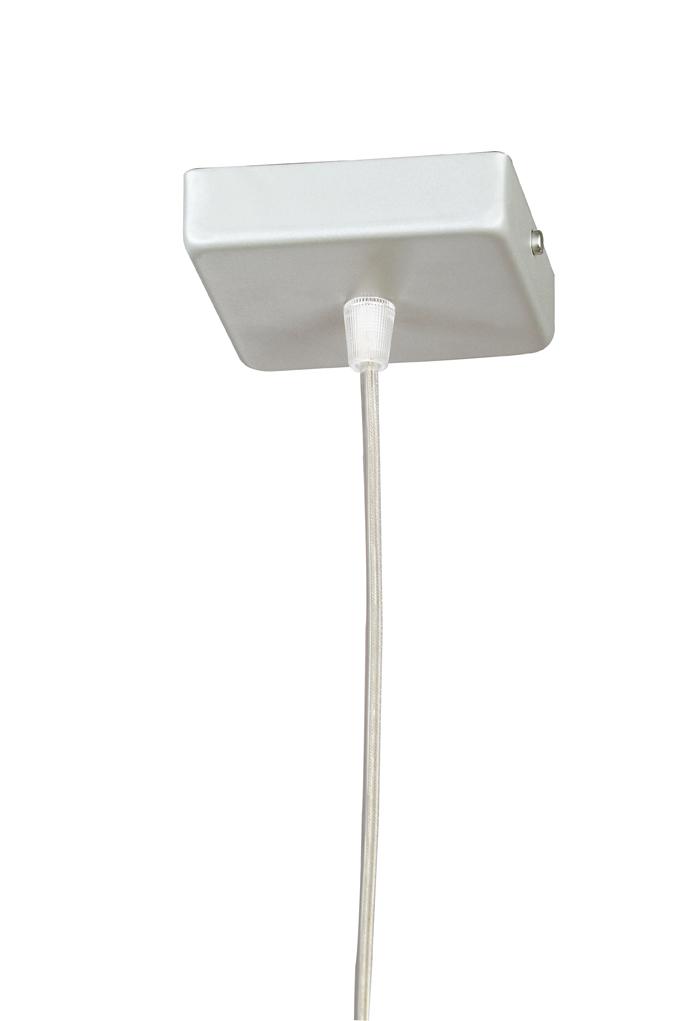Soporte Lámpara Colgante Cuadrado Cromo cable Transparente