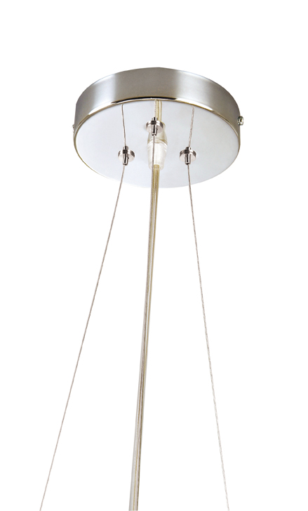 Soporte Lámpara Colgante Redondo Cromo 3 Cables de acero