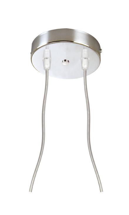 Soporte Lámpara Colgante Redondo Cromo 2 Cables Transparentes