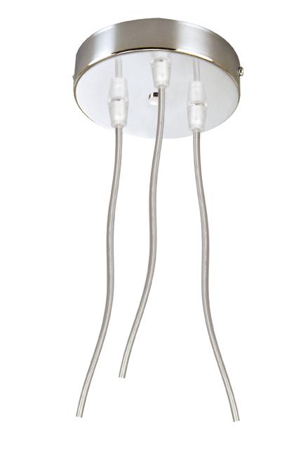 Soporte Lámpara Colgante Redondo Cromo 3 Cables Transparentes
